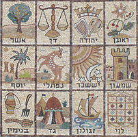 Mosaic of the 12 Tribes of Israel. From a syna...