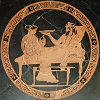 Persephone and Hades. Tondo of an Attic red-fi...