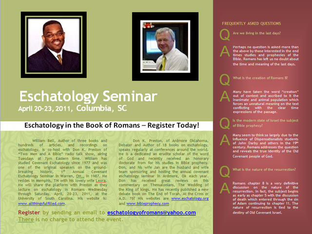 Columbia South Carolina Eschatology Seminar