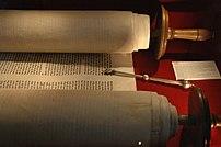 A Torah scroll.